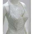 White sequin beaded halter neck mermaid wedding dress