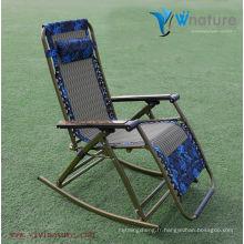 Chaise extérieure de rotin réglable moderne de haut dossier / chaise moderne d'accoudoir de roche / chaise de camping de rocaille avec l'oreiller