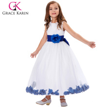 Grace Karin White Blue Sleeveless Flower Decorated Flower Girl Princess Party Dress 2~12Years CL008936-2