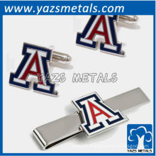 Letter A tie bars and cufflinks, custom made metal tie clip with design