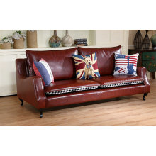 Color rojo a explosión modelo América Club de estilo, sofá de cuero (C026)