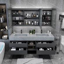 Тумба для ванной комнаты с декором линии