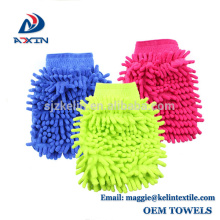 2018 New Product Factory fabricant chenille microfibre voiture lavage mitaine rose