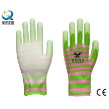 Revestimiento de poliéster de calibre 13 con guantes de seguridad revestidos de poliuretano