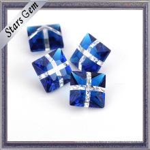Popular color azul oscuro y blanco vidrio mezclado para la joyería
