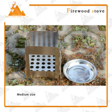 Style carré Portable pliable extérieure Camping poêle à bois