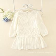 blanco de manga larga de encaje impreso para niños otoño estilo simple vestidos casuales niños suave buena calidad precio al por mayor
