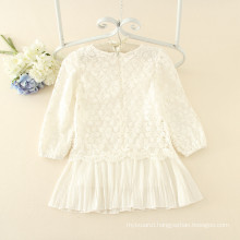 white long sleeves lace printed for kids autumn simple style casual dresses children soft good quality wholesale price
