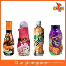 Bunte Druck-Plastik-Hitze schrumpfen Fruchtsaft-Aufkleber, Aufkleber für Spray / Lotion Flaschen