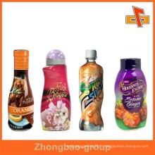 Étiquette colorée à base de jus de fruits rétractable à la chaleur en plastique, autocollant pour les bouteilles de pulvérisation / lotion