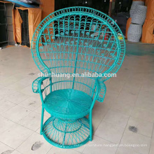 European style peacock rattan chair blue color metal wicker chair