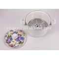olla de cocción al vapor de esmalte con mango de baquelita y 24CM Blue Rose Flower Decal Printing