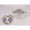 enamel steamer cooker pot with bakelite handle and 24CM Blue Rose Flower Decal Printing