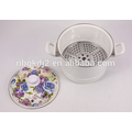 pote do fogão do navio do esmalte com punho da baquelite e impressão do decalque da flor de 24CM Rosa azul