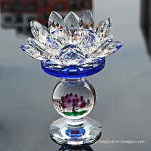 Crystal Glass Lotus Candle Holder for Home Wedding Decoration