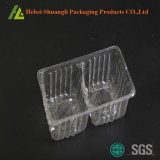 Disposable plastic biscuit tray with divisions