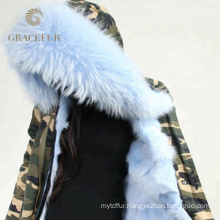 Special custom winter fur collar parka jacket with fur lining