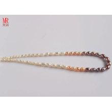 5-6-7mm gemischte Farbe Reis Real Perlen Halskette (ES131-3)