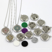 25mm Stainless Steel Fashion Essential Oil Locket Jewelry Necklace