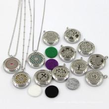 25 milímetros de aço inoxidável moda óleo essencial Locket jóias colar