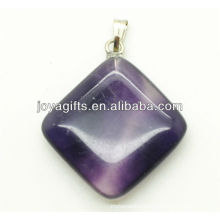 Fashion natural purple fluorite rhombus pendant gemstone pendant