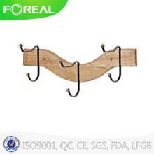 Wooden 3 Hooks Towel Clothes Hanging Wall Mounted Clasp