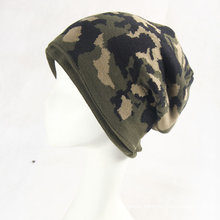 Mens Soft Stretch Winter Knitted Double Layer Camo Jacquard Warm Cap Beanie Hat (HW422)