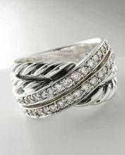 David Yurman pave diamond crossover ring