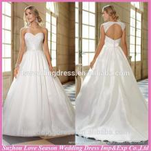 WD1174 Princesa estilo removível boné manga luva traseira bordado top cetim rainha anne decote fechadura vestido de noiva