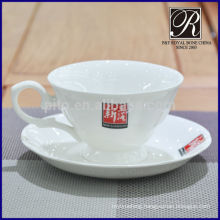 P&T porcelain factory high tea hour porcelain tea cup & saucer with logo