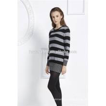 женские длинный рукав в полоску кашемир вязаный свитер с длинным рукавом