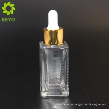 New product cosmetic 30ml modern cosmetic glass bottle clear screw cap for packing
