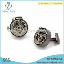 Revestimento automático do relógio do preto da arma do chapeamento, abotoaduras mecânicas do engrenagem do relógio