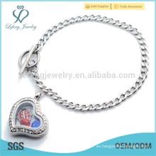 Pulsera de cadena de diseño de señoras, precio bajo pulsera de locket de joya de estilo corazón