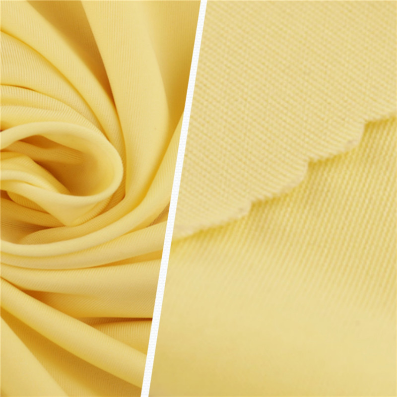 Breathable Yellow Ice Silk Polyester Knitted Garment Fabrics (2)