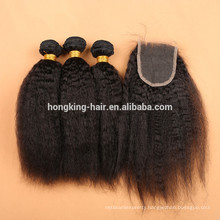 Factory Supplier Wholeslae kinky straight hair weave with lace closure
