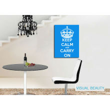 "Words of "" Keep Clam and Carry On"" Display on Canvas"