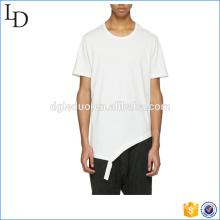 Détresse tout au long de la conception de col rond en coton blanc pour les hommes