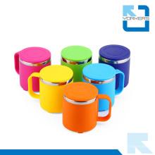 6 cores de aço inoxidável duplo copo de água da parede bebendo copo para crianças