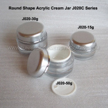 15ml 30ml 50ml Silver Round Shape Acrylic Cosmetic Jar