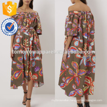 New Fashion Khaki Printed Off The Shoulder Midi Dress With Belt Manufacture Wholesale Fashion Women Apparel (TA5254D)
