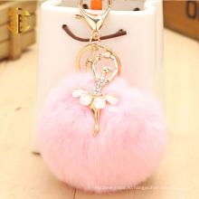 Бриллианты Украшение Танцовщица Девушка Прикрепленная шарик кролика Мяч Симпатичная брелок для ключей