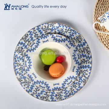 Rural Design Flor Pintura Cerâmica Fine Bone China Placas E Pratos Dinnerware Set