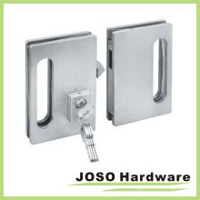 Cepillo de satén sin marco de vidrio puerta de bloqueo para puertas dobles (gdl001b)