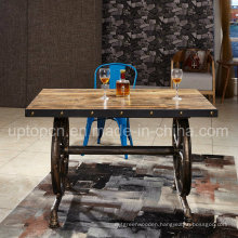 Industrial Style Wooden Table with Cartwheel Shape Leg (SP-RT546)