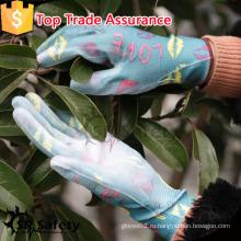 SRSAFETY 13G PU с пальмовым покрытием дамы перчатки / садовые перчатки нейлоновые перчатки фарфор поставщики