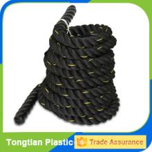 cuerda de batalla negra ambos extremos con tapas termocontraíbles