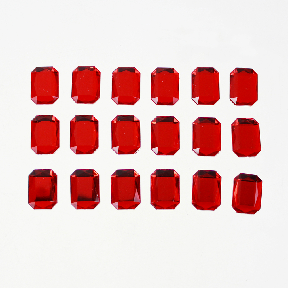 Red 15mm Large Square Rhinestone Stickers