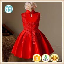 XMAS bordados vestidos de casamento estatina vermelho cheongsam gola roupas de festa de natal vestidos de meninas de flores para o inverno de algodão festa