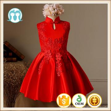 XMAS brodé robes de mariage statin rouge cheongsam collier de noël partie vêtements fleur filles robes pour la fête coton hiver